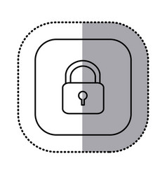 monochrome contour with square sticker of padlock vector image vector image