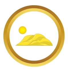Mountain and the sun icon vector