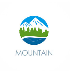 mountain peak logo vector image vector image
