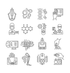 Nanotechnology Linear Icons Set vector image vector image