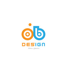 Ob o b orange blue alphabet letter logo vector