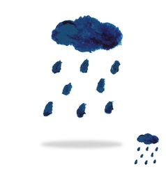 Oil painted cloud and rain drops vector