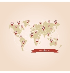 Pointers popular game on the world map vector