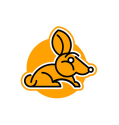 Rabbit logo pet isolated object orange vector