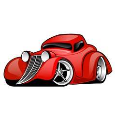 Red hot rod custom coupe vector