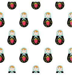 russian doll matryoshka seamless pattern vector image