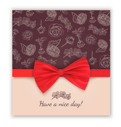 Sketch pattern and red ribbon bow vector