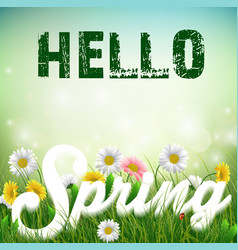 Spring background with word spring in the grass vector