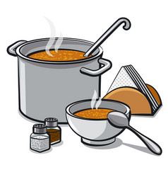 tasty soup in bowl vector image vector image