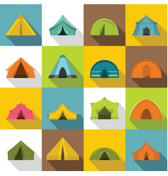 tent forms icons set flat style vector image