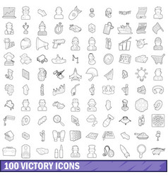 100 victory icons set outline style vector