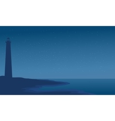 Silhouette of lighthouse in beach vector