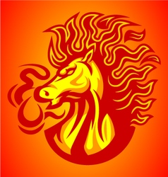 Horse fire red logo vector