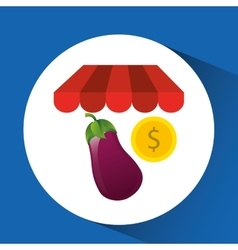Buying online eggplant vegetable icon vector