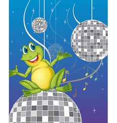 A frog sitting on a disco light vector