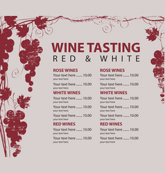 Menu for wine tasting patterned bunch of grapes vector