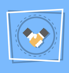 Handshake icon business deal agreement concept vector