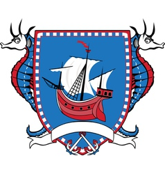 Marine emblem coat of arms sailboat vector image