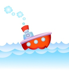 Cartoon steamship vector