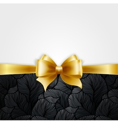 Invitation card with gold holiday ribbon on vector