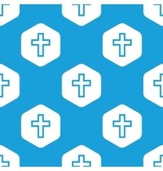 Christian cross hexagon pattern vector