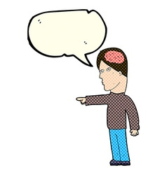 Cartoon clever man pointing with speech bubble vector
