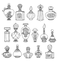 Black and white fantasy vintage perfumes vector