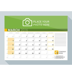 Calendar planner for 2016 year march print vector