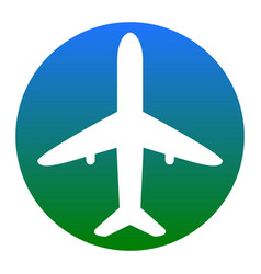 Airplane sign white icon in vector