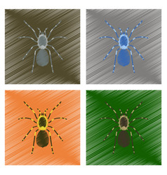 Assembly flat shading style spider vector