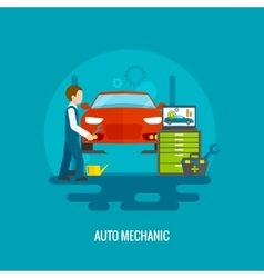 Auto mechanic flat vector