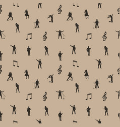 Beige and brown music seamless background vector