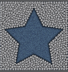 blue jeans star with spangles vector image vector image