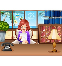 Businesswoman reading files on the chair vector image vector image