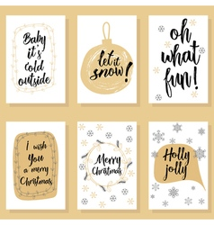 Christmas modern calligraphy set Hand drawn brush vector image