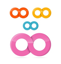 Colorful Infinity Symbols Set Isolated on White vector image