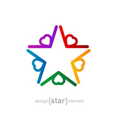 coloured star with hearts Abstract design element vector image