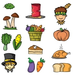 Doodle of thanksgiving vegetable set vector