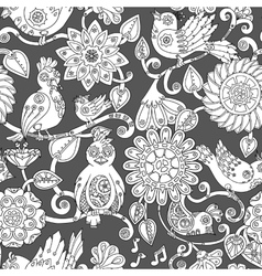 Doodle seamless background with steampunk birds vector