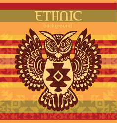 Ethnic background with owl vector