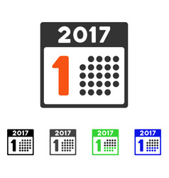 First 2017 calendar day flat icon vector