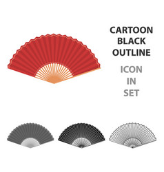 Folding fan icon in cartoon style isolated on vector