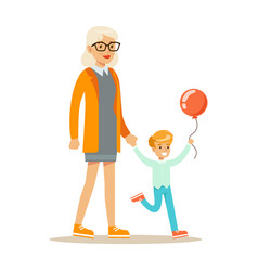 grandmother and boy with balloon holding hands vector image vector image