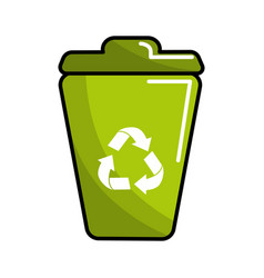 Green can trash with recycling symbol vector