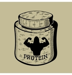 Hand drawn bank with protein sport nutrition vector