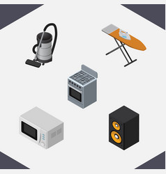 Isometric technology set of music box stove vac vector