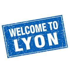 Lyon blue square grunge welcome to stamp vector