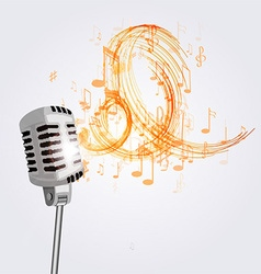 old microphone and musical notes vector image