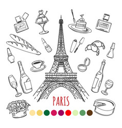 paris coloring page with color swatches vector image vector image