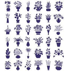 Potted flowers icons on white vector